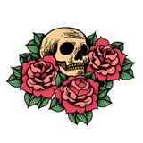 Tatuaggio di Rosa con il cranio Illustrazione di vettore isolata rose royalty illustrazione gratis
