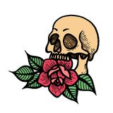 Tatuaggio di Rosa con il cranio Illustrazione di vettore isolata rose illustrazione vettoriale