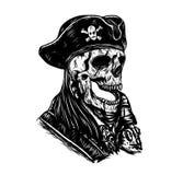 Tatuaggio di vettore del cranio del pirata che disegna a mano royalty illustrazione gratis