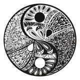 Tatuaggio di Yin Yang per l'illustrazione di simbolo di progettazione Fotografie Stock Libere da Diritti