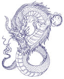 Tatuaggio disegnato a mano del drago, stile giapponese del libro da colorare Fotografia Stock Libera da Diritti