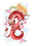Tatuaggio disegnato a mano del drago, stile giapponese del libro da colorare Fotografie Stock