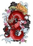 Tatuaggio disegnato a mano del drago, stile giapponese del libro da colorare Immagini Stock