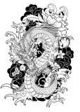 Tatuaggio disegnato a mano del drago, stile giapponese del libro da colorare Immagine Stock
