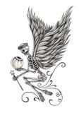 Tatuaggio leggiadramente di angelo del cranio di arte Fotografia Stock