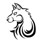 Tatuaggio nero del lupo Fotografie Stock