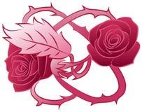 Tatuaggio rosa dei fiori del doppio Fotografie Stock Libere da Diritti