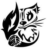 Tatuaggio stilizzato del gatto di vettore Fotografia Stock Libera da Diritti