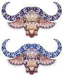 Tatuaggio, toro, testa del bufalo con i corni Fotografia Stock Libera da Diritti