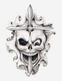 Tatuaggio trasversale di arte del cranio Immagini Stock Libere da Diritti