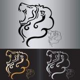 Tatuaggio tribale della testa del leone di vettore Fotografia Stock