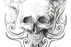Tatuai l'arte, abbozzo di un cranio nero Fotografie Stock Libere da Diritti