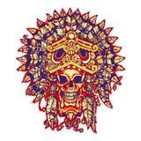 Tatuaje azteca del guerrero El cráneo en la máscara de Jaguar stock de ilustración