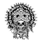 Tatuaje azteca del guerrero El cráneo en la máscara de Jaguar libre illustration