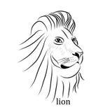 Tatuaje blanco y negro Lion Illustration del vector Stock de ilustración