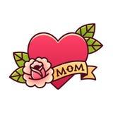 Tatuaje color de rosa del corazón tradicional de la mamá ilustración del vector