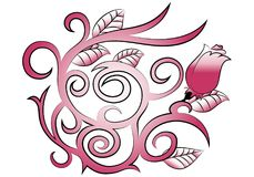 Tatuaje color de rosa del remolino Foto de archivo