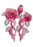 Tatuaje color de rosa de tres flores Imagen de archivo libre de regalías