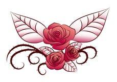 Tatuaje con alas de la flor Fotografía de archivo