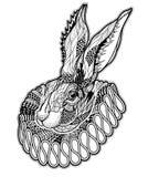 Tatuaje con el conejo en una chorrera ilustración del vector