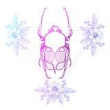 Tatuaje de Boho Coloree el escarabajo, insecto de mayo en marco del triángulo del inconformista Imágenes de archivo libres de regalías