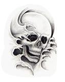 Tatuaje de la cabeza del cráneo del arte Fotos de archivo libres de regalías