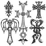 Tatuaje de las cruces (crucifijo) elementos religiosos del diseño Imágenes de archivo libres de regalías