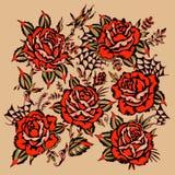 Tatuaje de las rosas stock de ilustración