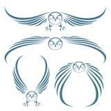 Tatuaje de los buhos del vuelo Imagen de archivo