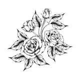 Tatuaje de Rose Silueta de rosas stock de ilustración