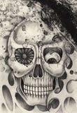 Tatuaje del cráneo del arte Imagen de archivo libre de regalías