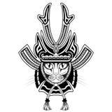Tatuaje del gato del samurai Imagen de archivo libre de regalías