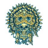 Tatuaje del guerrero Cráneo del guerrero azteca en la máscara de Jaguar stock de ilustración