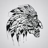 Tatuaje del vector, jefe indio del nativo americano Foto de archivo