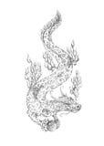 Tatuaje, dragón que conserva la perla Fotografía de archivo libre de regalías