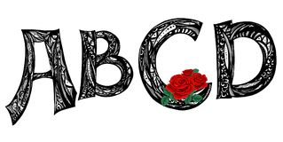 tatuaje Fuente manuscrita de la escritura Caligrafía moderna dibujada mano del estilo del cepillo Letras de la mano ilustración del vector