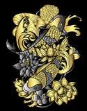 Tatuaje japonés de los pescados y de la flor de Koi del oro y de la plata en fondo negro Foto de archivo