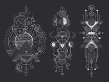 Tatuaje mágico abstracto Luna geométrica sagrada, líneas místicas de las flechas de la revelación y vector exhausto de la mano de stock de ilustración