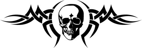 Tatuaje negro del scull stock de ilustración