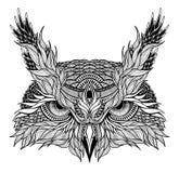 Tatuaje psicodélico de la cabeza del búho stock de ilustración