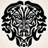 Tatuaje tribal con la máscara de dios Ilustraciones aut?nticas con un s?mbolo del t?tem Tatuajes del clipart de los gr?ficos de v stock de ilustración