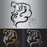 Tatuaje tribal de la cabeza del león del vector Foto de archivo