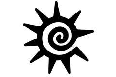 Tatuaje tribal del sol stock de ilustración