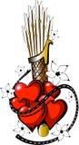 Tatuaje Valentine Day con la flecha 3 imágenes de archivo libres de regalías