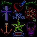 Tatuajes de neón Imagen de archivo libre de regalías