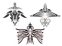 Tatuajes de pájaros fantásticos. Foto de archivo