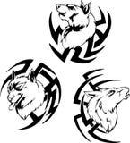 Tatuajes despredadores de la cabeza del lobo Imágenes de archivo libres de regalías