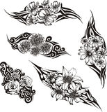 Tatuajes tribales de la flor Imagen de archivo libre de regalías