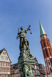 Tatue of Lady Justice in Frankfurt, Germany Stock Images