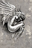 Tatuera konstillustrationen, ängel med fiolen Arkivbilder